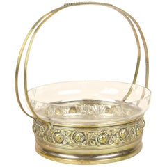 Art Nouveau Centerpiece with Glass Bowl in Brass Basket, Austria, circa 1910