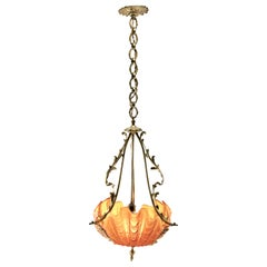 Art Nouveau Central Pendant Lamp Whit Three Clam Shells and Framework of Brass