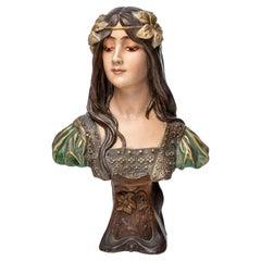 Art Nouveau Ceramic Bust of a Maiden