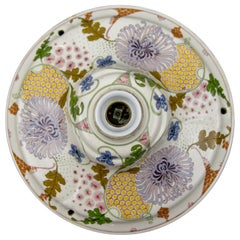 Art Nouveau Ceramic Floral Multicolored Ceiling Lamp, 1920s