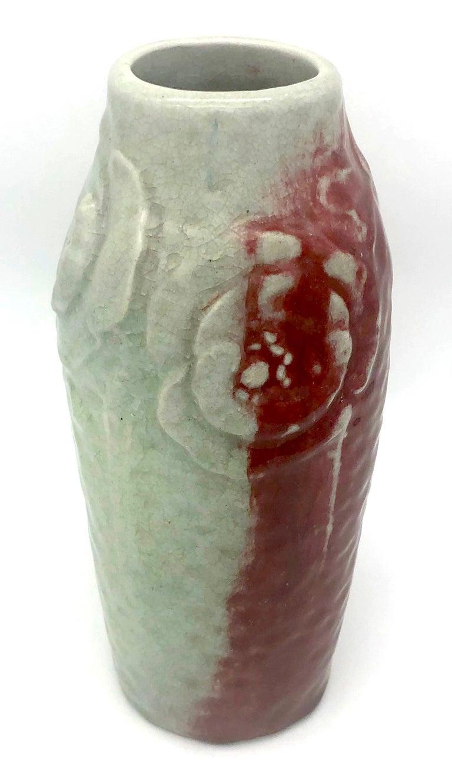 Hand-Crafted Art Nouveau Ceramic Vase Relief Poppies Flower Sang de Boeuf and Celadon Glaze For Sale
