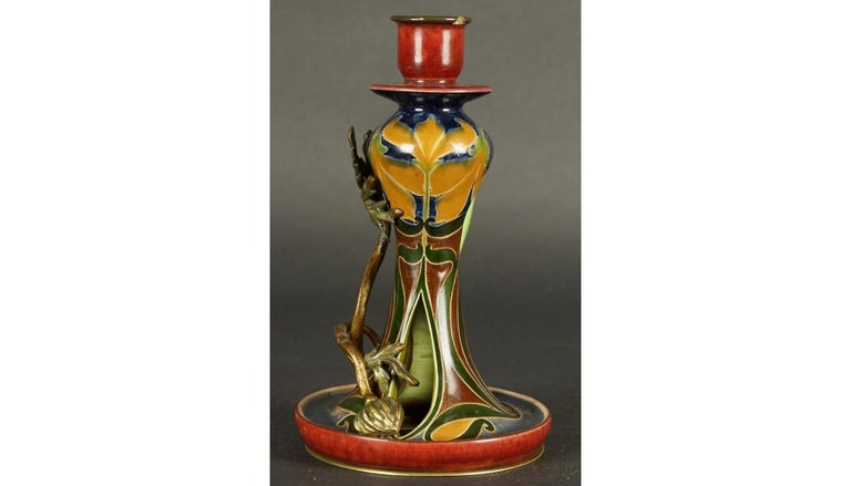 Art Nouveau ceramics and bronze candelabra Majolica circa 1900