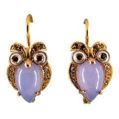 "Art Nouveau Chalcedony White Brown Diamond Tsavorite Yellow Gold ""Owls"" Earrings"