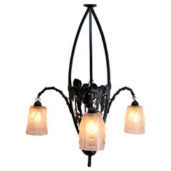 Art Nouveau Chandelier by Muller Freres Luneville, Schades are Signed, 1900s