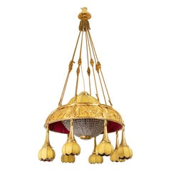 Art Nouveau Chandelier in Gilt Bronze and Yellow Fabric, circa 1900