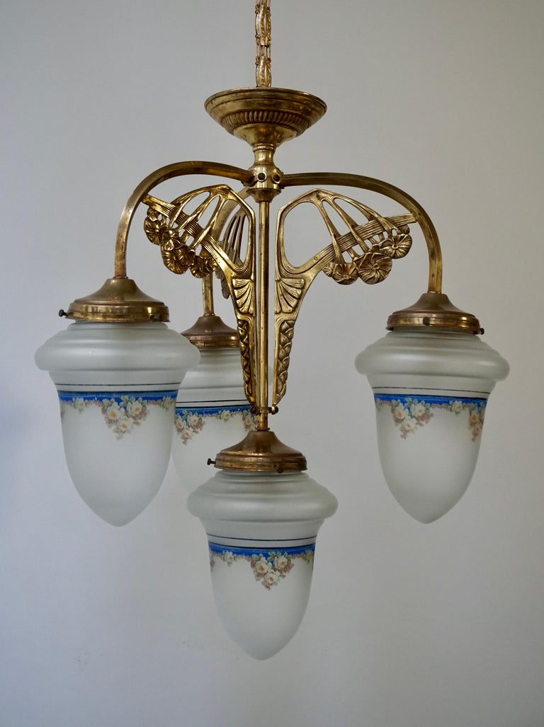 Italian Art Nouveau Chandelier in Painted Glass and Brass For Sale