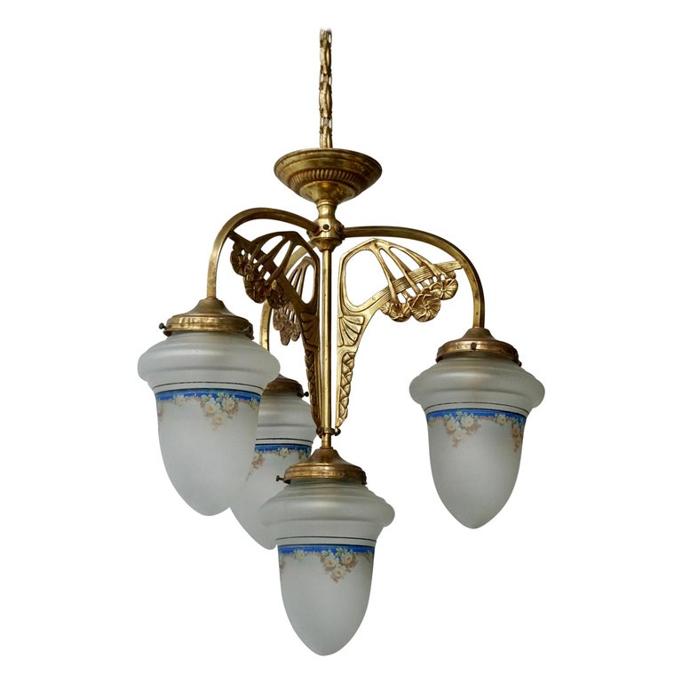 Art Nouveau Chandelier in Painted Glass and Brass For Sale