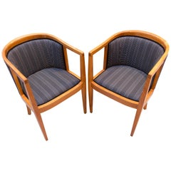 Art Nouveau Cherrywood Pair of Bergere / Armchair