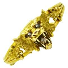 Art Nouveau Chimera Lion Diamonds Yellow Gold Bangle Bracelet