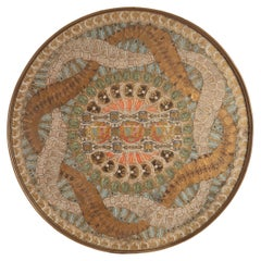 Art Nouveau Cigar Bands Decorated Glass Round Tray, Belgium, 1900