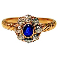 Art Nouveau Cluster Ring Diamonds 0.50 Carat Sapphire Vienna Austria, circa 1900
