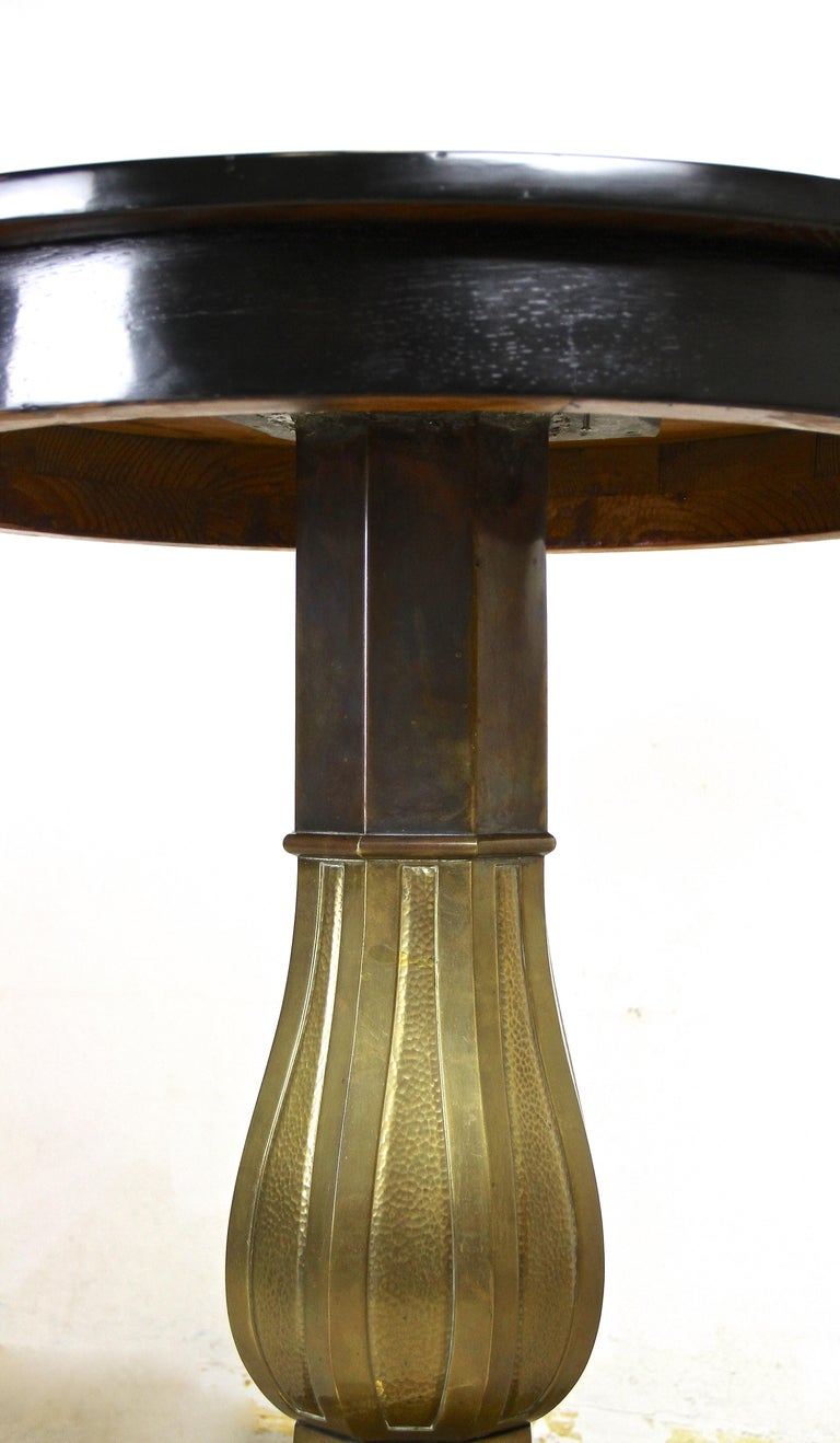 Art Nouveau Coffee/ Side Table with Brass Base, Austria, circa 1910 For Sale 5