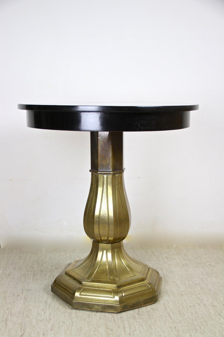 Copper Art Nouveau Coffee/ Side Table with Brass Base, Austria, circa 1910 For Sale