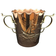Art Nouveau Copper and Brass Wine Cooler by Carl Deffner, circa 1900