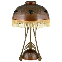 Art Nouveau Copper, Brass and Glass Cabochons Table Lamp WMF 1900