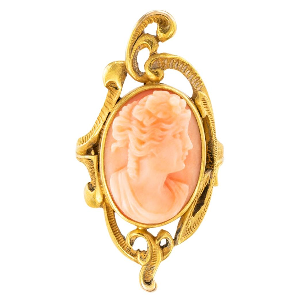 Art Nouveau Coral Cameo Yellow Gold Ring