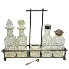 Art Nouveau Cruet Glass Condiment Set Antique Europe, Sweden, 1900s