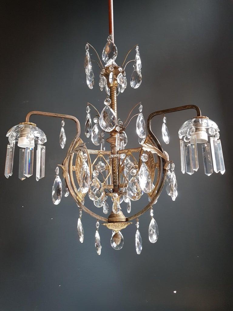 Art Nouveau Crystal Chandelier Lustre Ceiling Lamp Rarity For Sale 3
