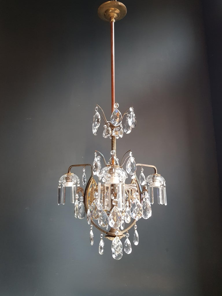 Art Nouveau crystal chandelier lustre ceiling lamp rarity  Measures: Total height 115 cm, height without chain 115 cm, diameter 55 cm. Weight (approximately): 6kg.  Number of lights: 3-light bulb sockets: E27 material: Brass, crystal  Total