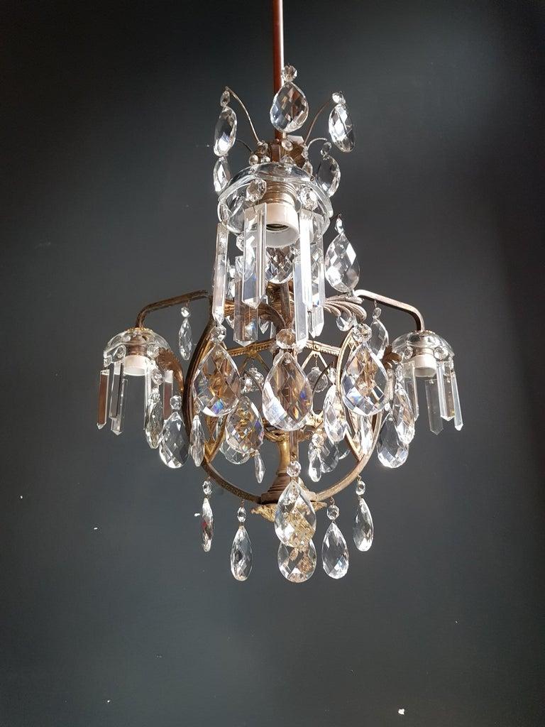 European Art Nouveau Crystal Chandelier Lustre Ceiling Lamp Rarity For Sale