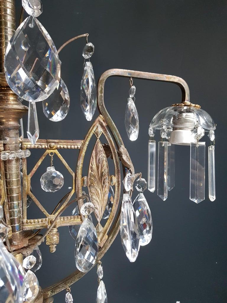 Art Nouveau Crystal Chandelier Lustre Ceiling Lamp Rarity In Good Condition For Sale In Berlin, DE