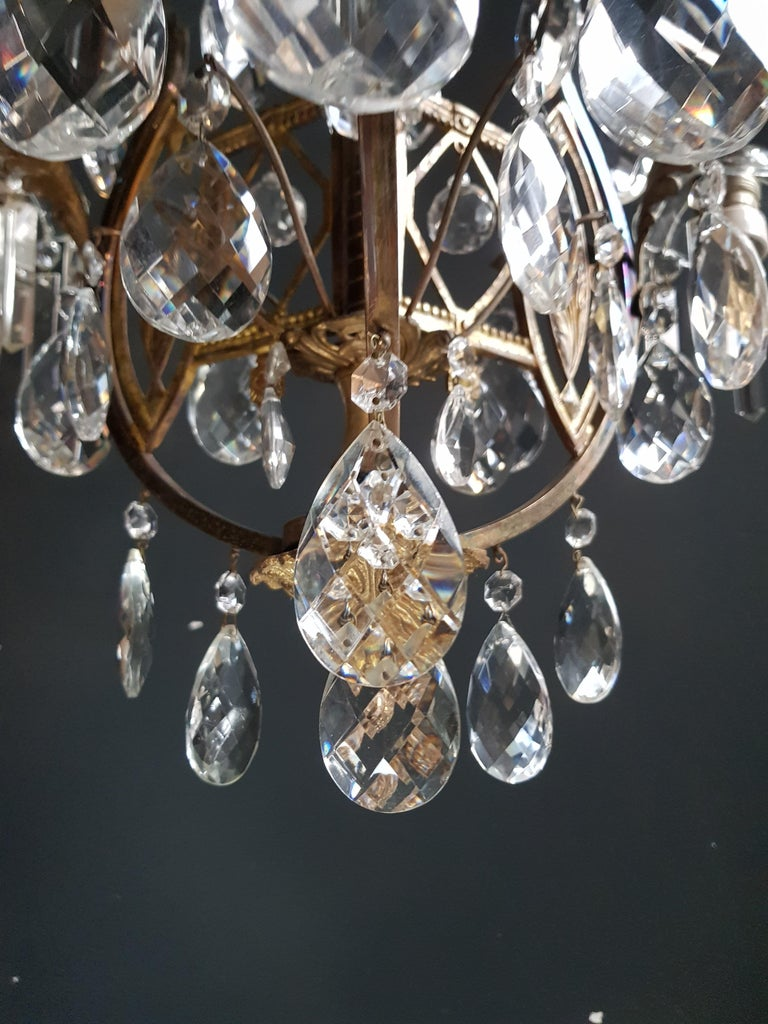 Mid-20th Century Art Nouveau Crystal Chandelier Lustre Ceiling Lamp Rarity For Sale