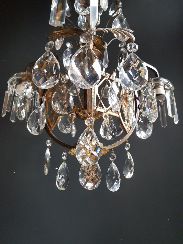 Brass Art Nouveau Crystal Chandelier Lustre Ceiling Lamp Rarity For Sale