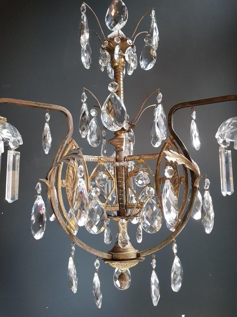 Art Nouveau Crystal Chandelier Lustre Ceiling Lamp Rarity For Sale 1