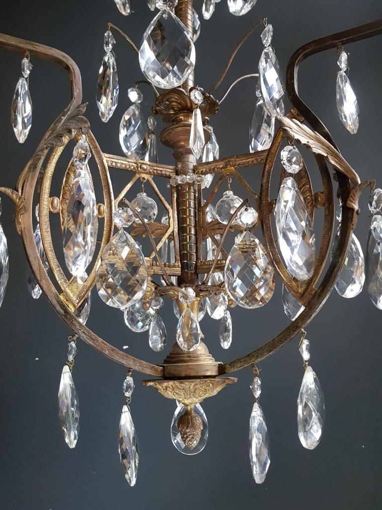 Art Nouveau Crystal Chandelier Lustre Ceiling Lamp Rarity For Sale 2