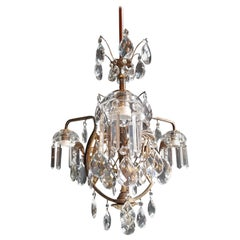 Art Nouveau Crystal Chandelier Lustre Ceiling Lamp Rarity