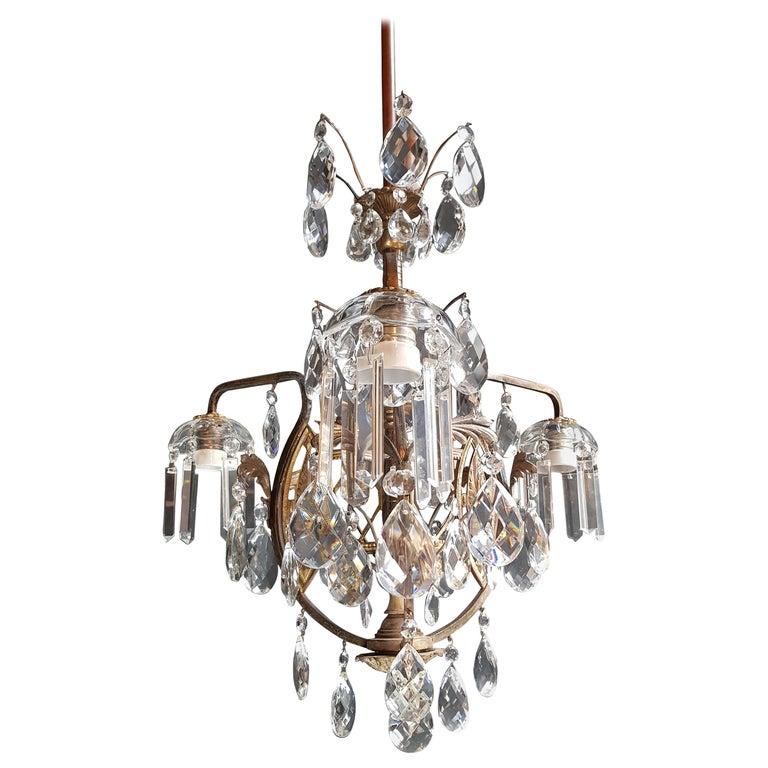 Art Nouveau Crystal Chandelier Lustre Ceiling Lamp Rarity For Sale