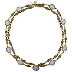 Art Nouveau Crystal Opal Multi-Strand Gold Bracelet