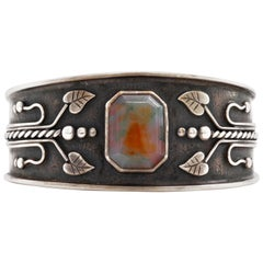 Art Nouveau Cuff Bracelet with Agate in Sterling from Europe