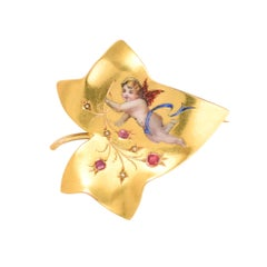 Art Nouveau Cupid Ivy Leaf Brooch