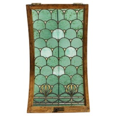 Art Nouveau Curved Stained Glass & Bronze Panel/ Window, Attributed to Tiffany