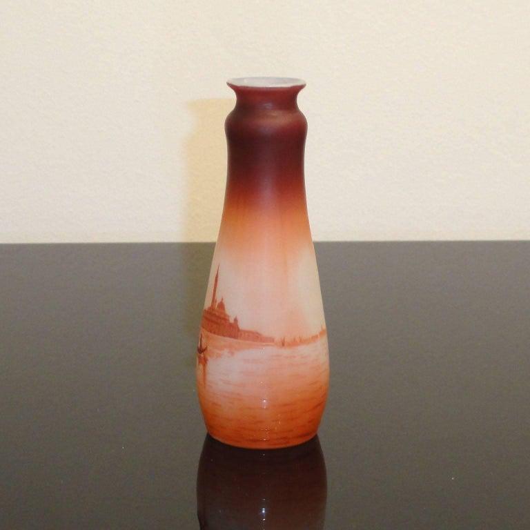 Etched Art Nouveau D'Argental Cameo Glass Vase with Venice Landscape For Sale