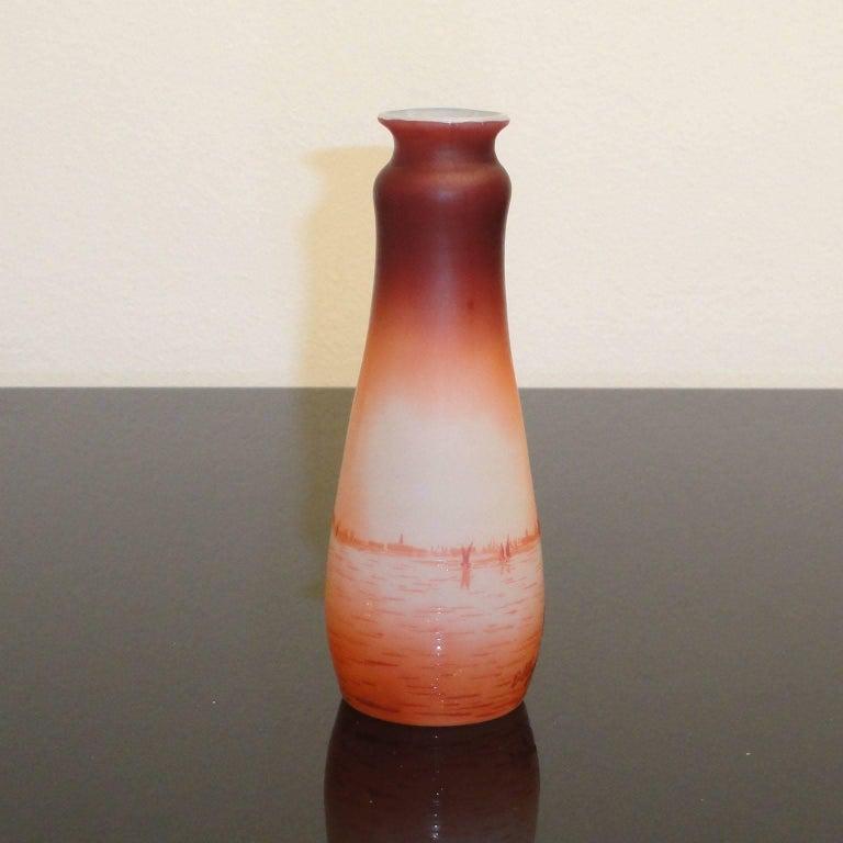 19th Century Art Nouveau D'Argental Cameo Glass Vase with Venice Landscape For Sale