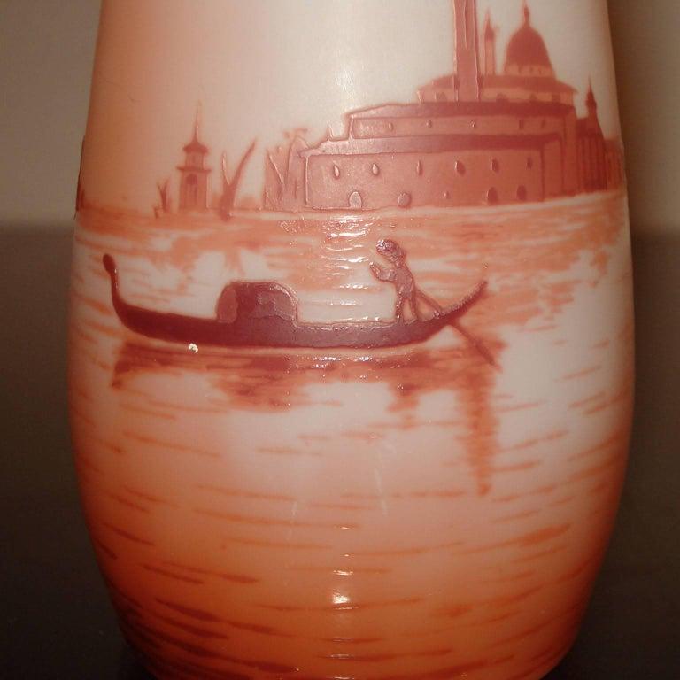 Art Nouveau D'Argental Cameo Glass Vase with Venice Landscape For Sale 2