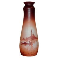 Art Nouveau D'Argental Cameo Glass Vase with Venice Landscape