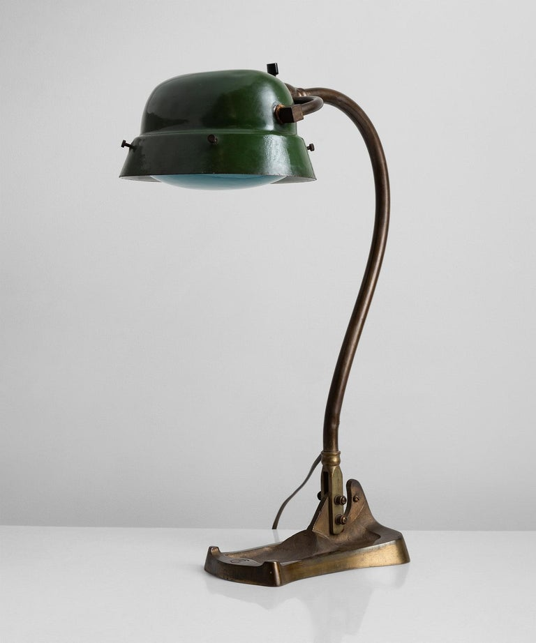 Enameled Art Nouveau Desk Lamp