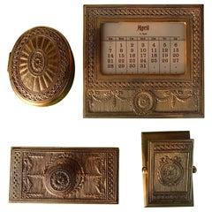 Art Nouveau Desk Set by Tiffany Calendar, Ink Dryer, Box and Clip