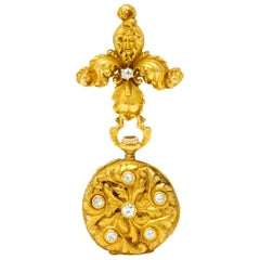 Art Nouveau Diamond 14 Karat Gold Antique Watch Brooch
