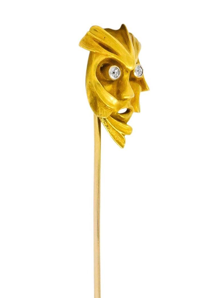 Art Nouveau Diamond 14 Karat Gold Green Man Stickpin In Excellent Condition For Sale In Philadelphia, PA