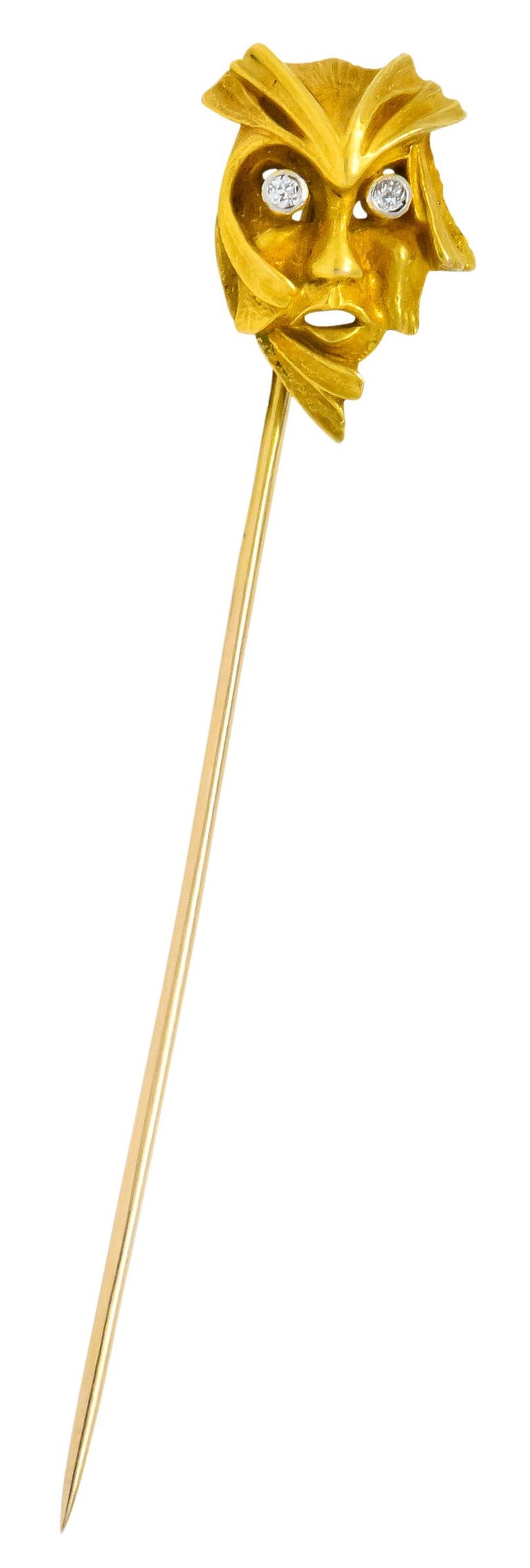 Women's or Men's Art Nouveau Diamond 14 Karat Gold Green Man Stickpin For Sale