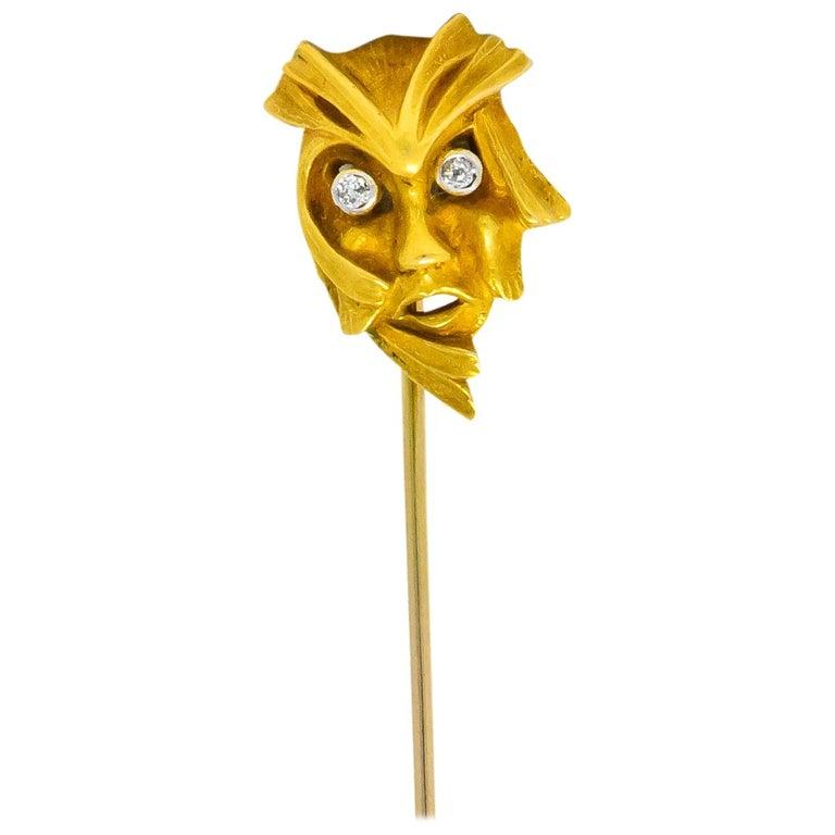 Art Nouveau Diamond 14 Karat Gold Green Man Stickpin For Sale