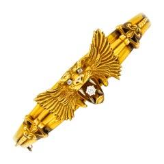 Art Nouveau Diamond 14 Karat Yellow Gold Lion Bangle Bracelet