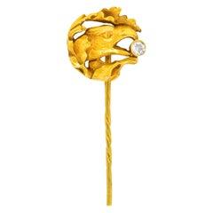 Art Nouveau Diamond 18 Karat Gold Foliate Eagle Stickpin