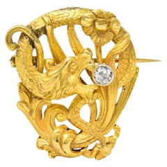 Art Nouveau Diamond 18 Karat Gold Serpent Dragon Brooch