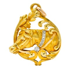Art Nouveau Diamond 18 Karat Yellow Gold Horse Equestrian Pendant