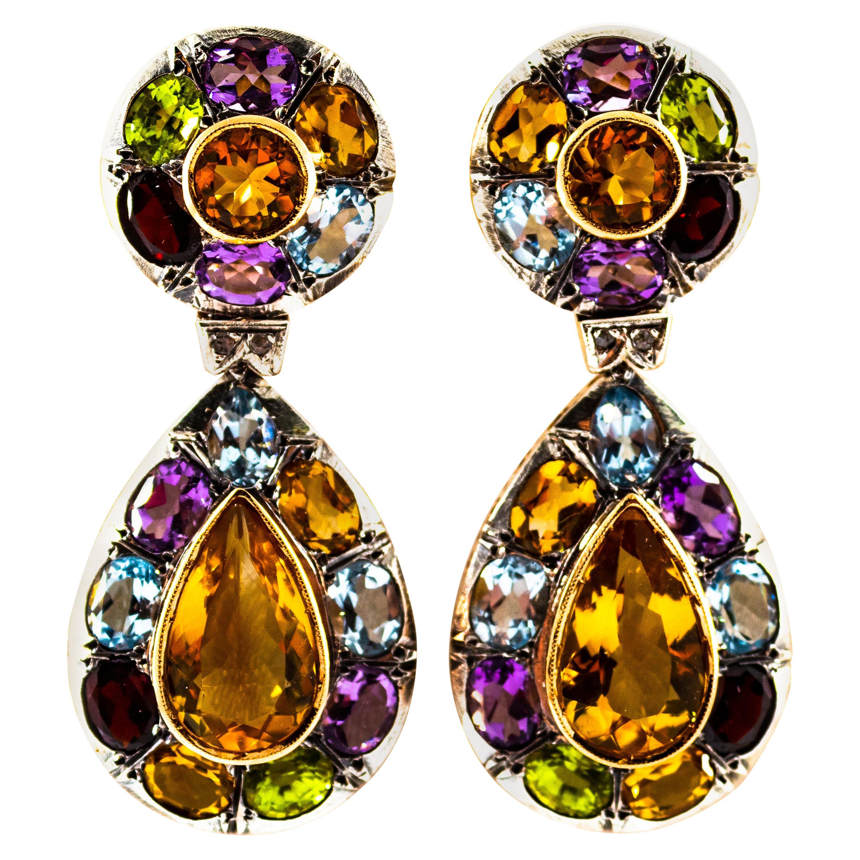 Art Nouveau Diamond Amethyst Garnet Quartz Peridot Citrine Yellow Gold Earrings